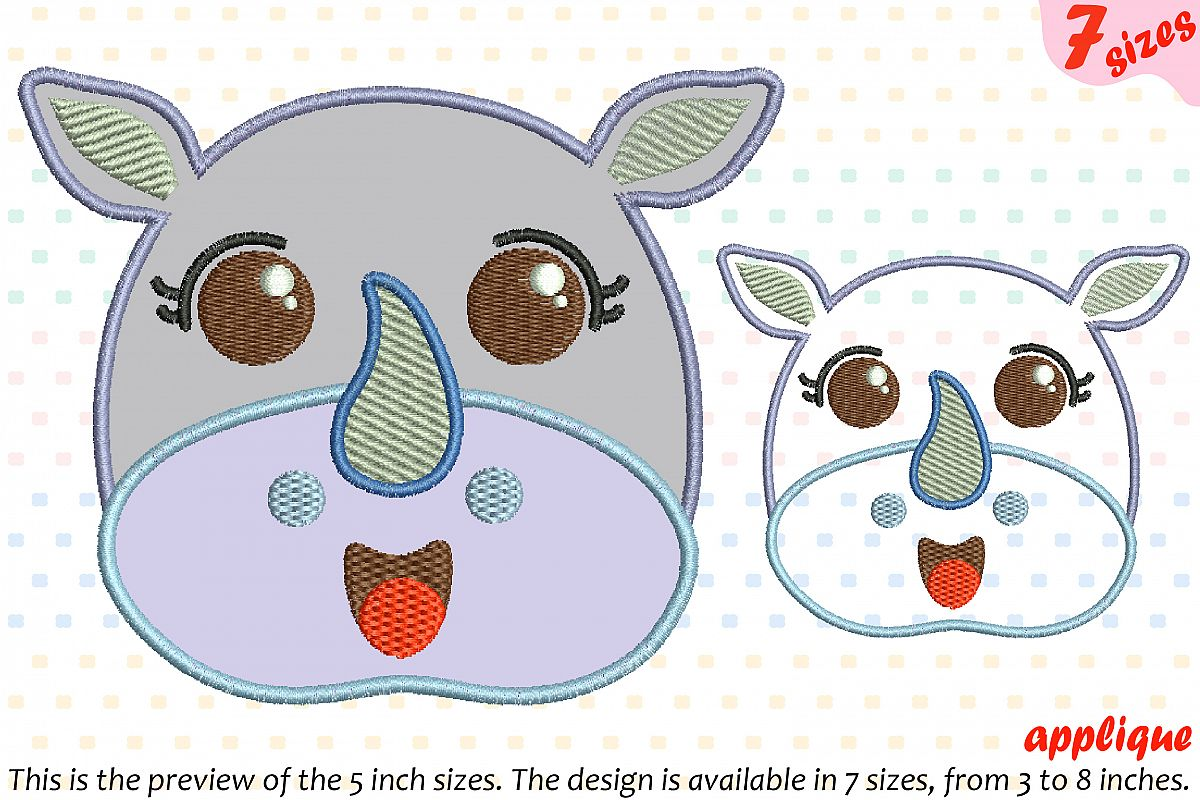 Baby rhino applique designs for embroidery machine instant