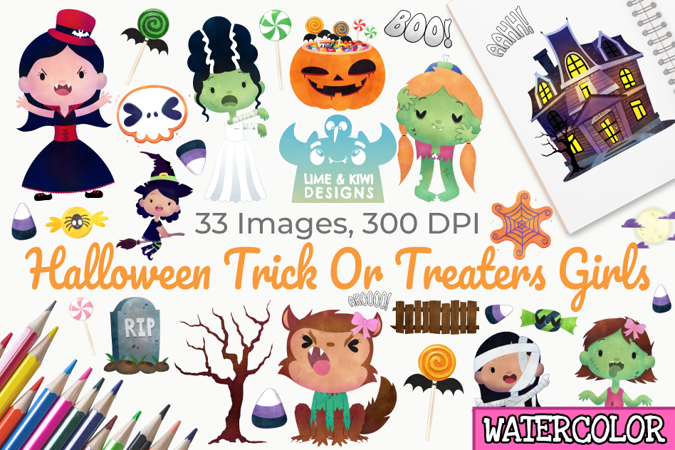 Halloween Trick Or Treaters Girls Watercolor Clipart example image 1