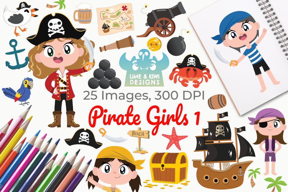 Pirate Girls 1 Clipart, Instant Download Vector Art example image 1