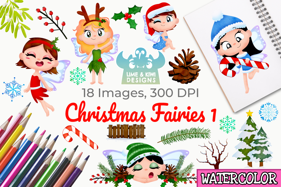 Christmas Fairies 1 Watercolor Clipart, Instant Download example image 1