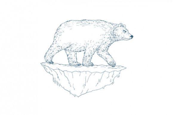 Polar Bear Walking Iceberg Ukiyo-e example image 1
