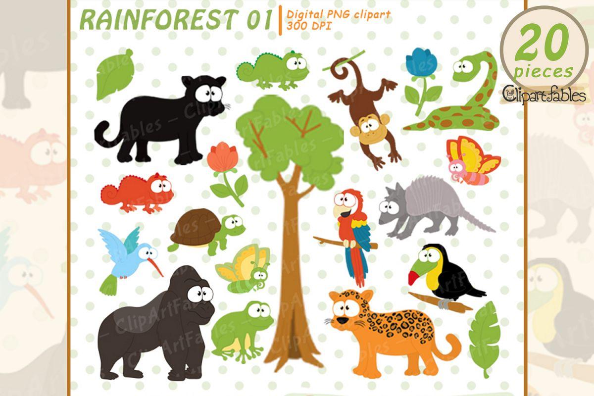 RAINFOREST clipart, Cute wild animals clip art, Jungle art example image 1
