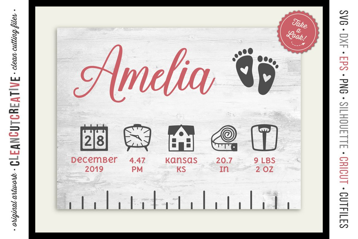 BABY BIRTH STATS RULER vector elements SVG file for crafters example image 1