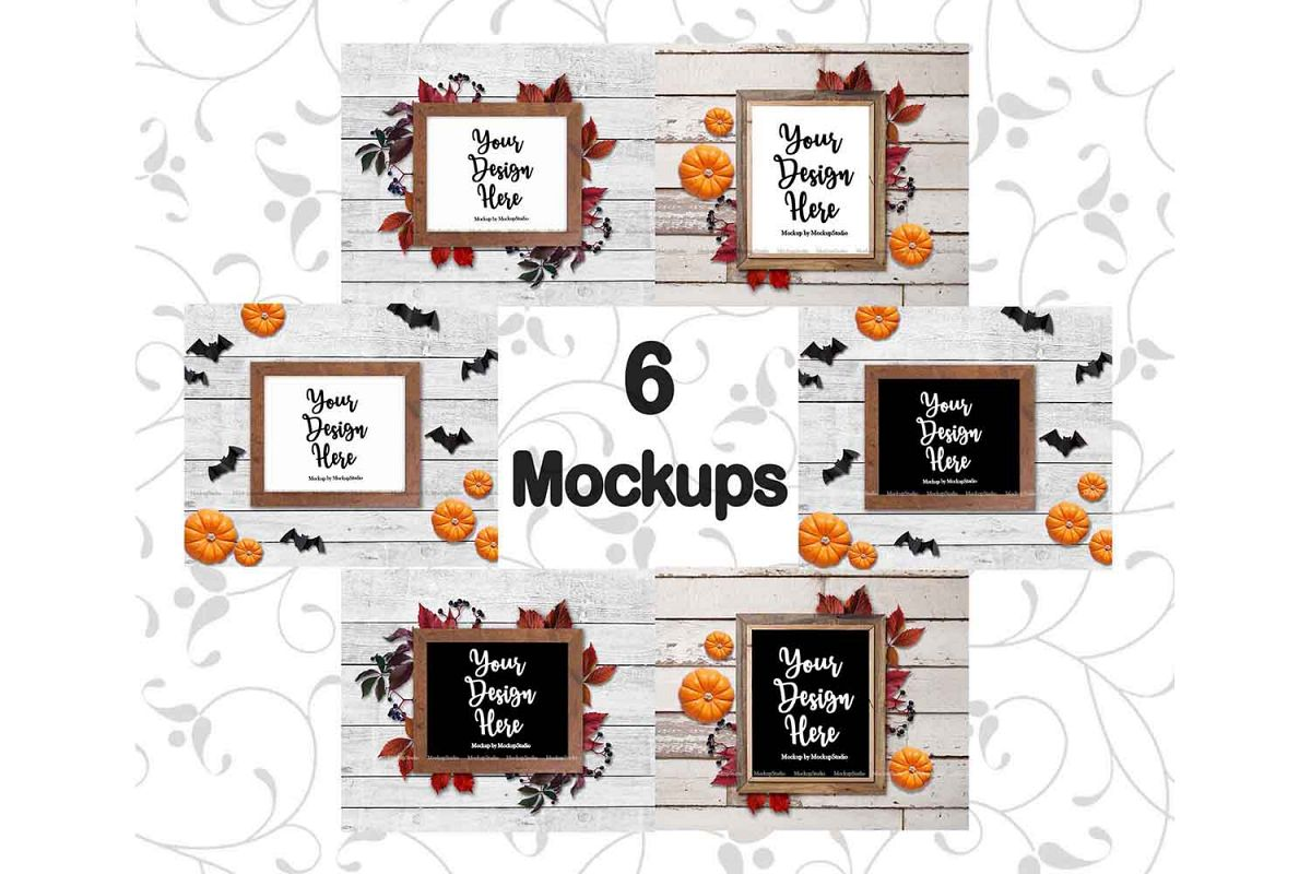 Fall Frame Mockup Bundle, Halloween Wood Sign Mock Up Set example image 1