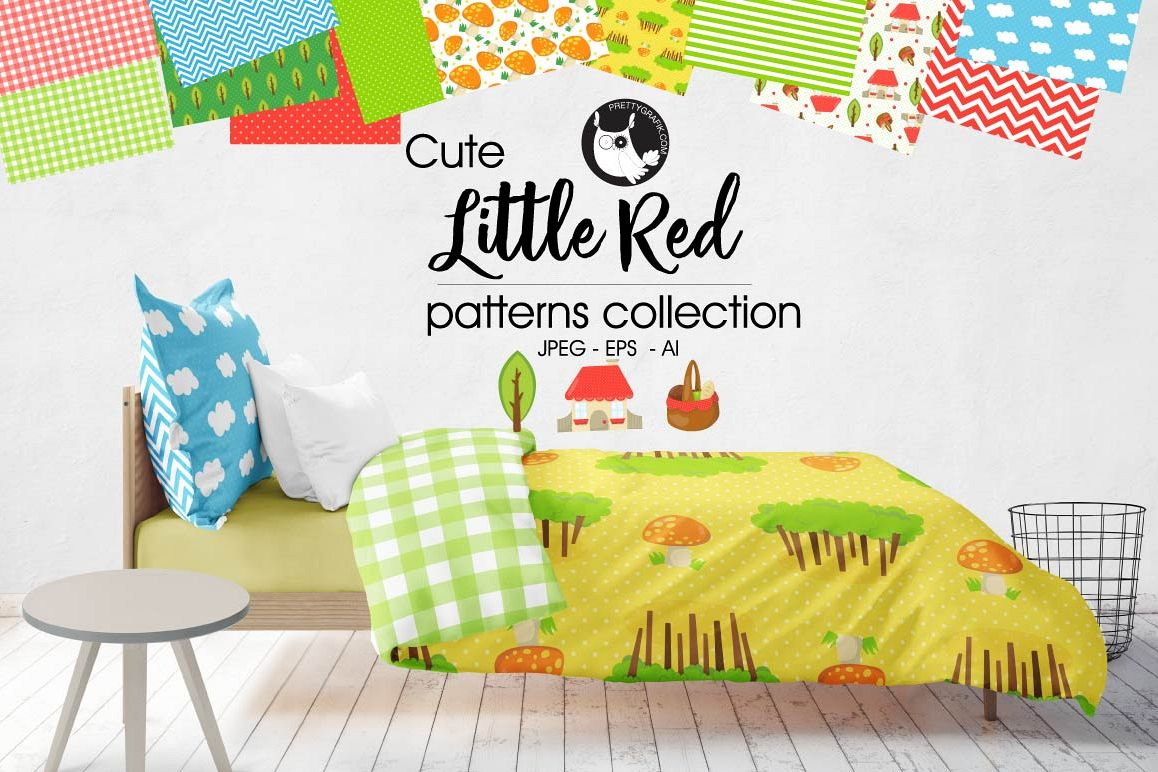 LITTLE-RED, digital papers example image 1