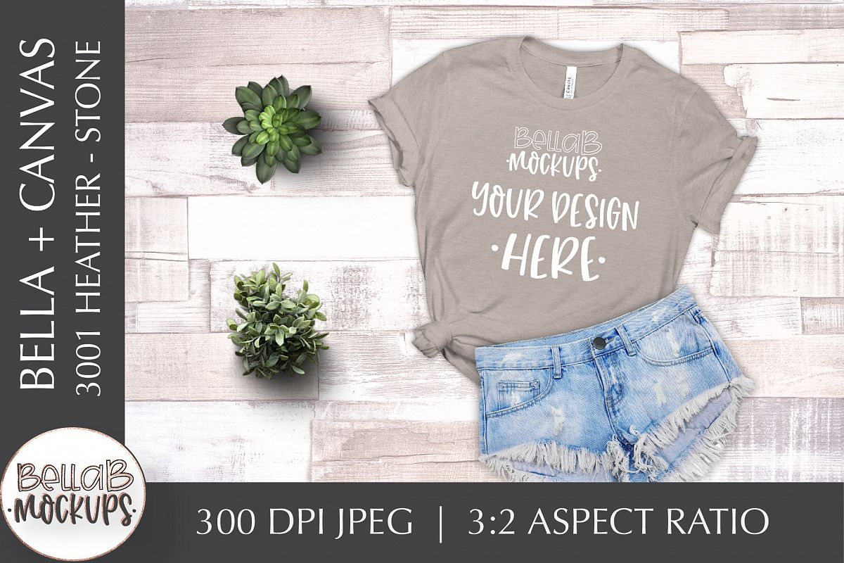 Bella Canvas 3001 Heather Woman's T Shirt Mockup, Stone example image 1