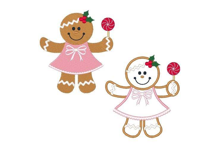 Ginger Girl Embroidery Design Set of 2 Christmas Designs example image 1
