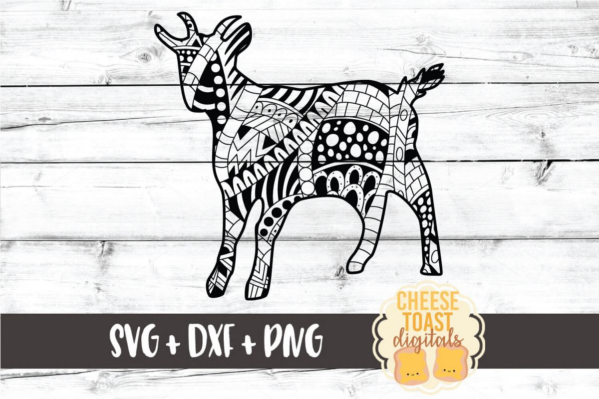 Goat - Zen Doodle Art - Animal SVG PNG DXF Files example image 1