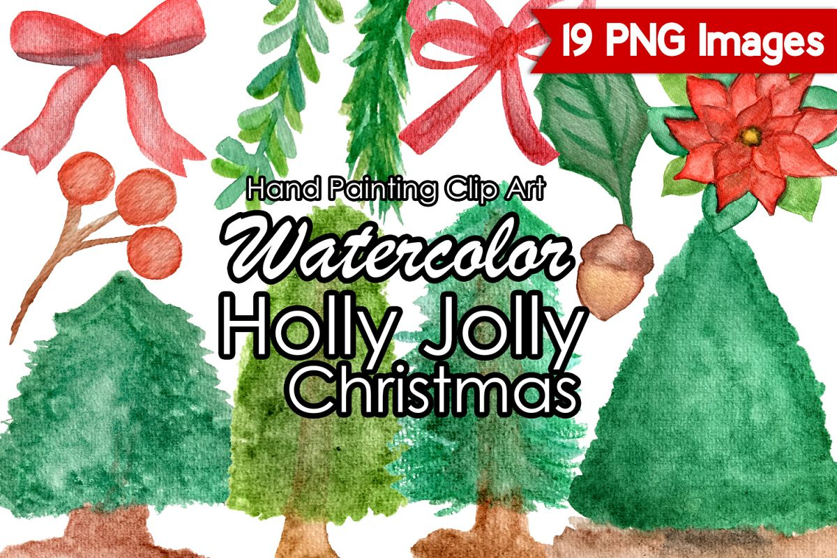 Watercolor Christmas Clipart, Holly Jolly Christmas Clip Art example image 1