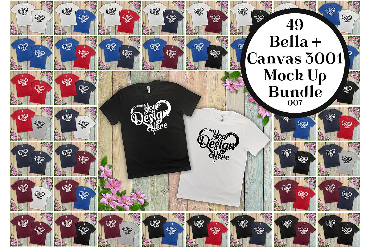 Bella Canvas 3001 Couple Mockup Bundle Double T-Shirt 007 example image 1