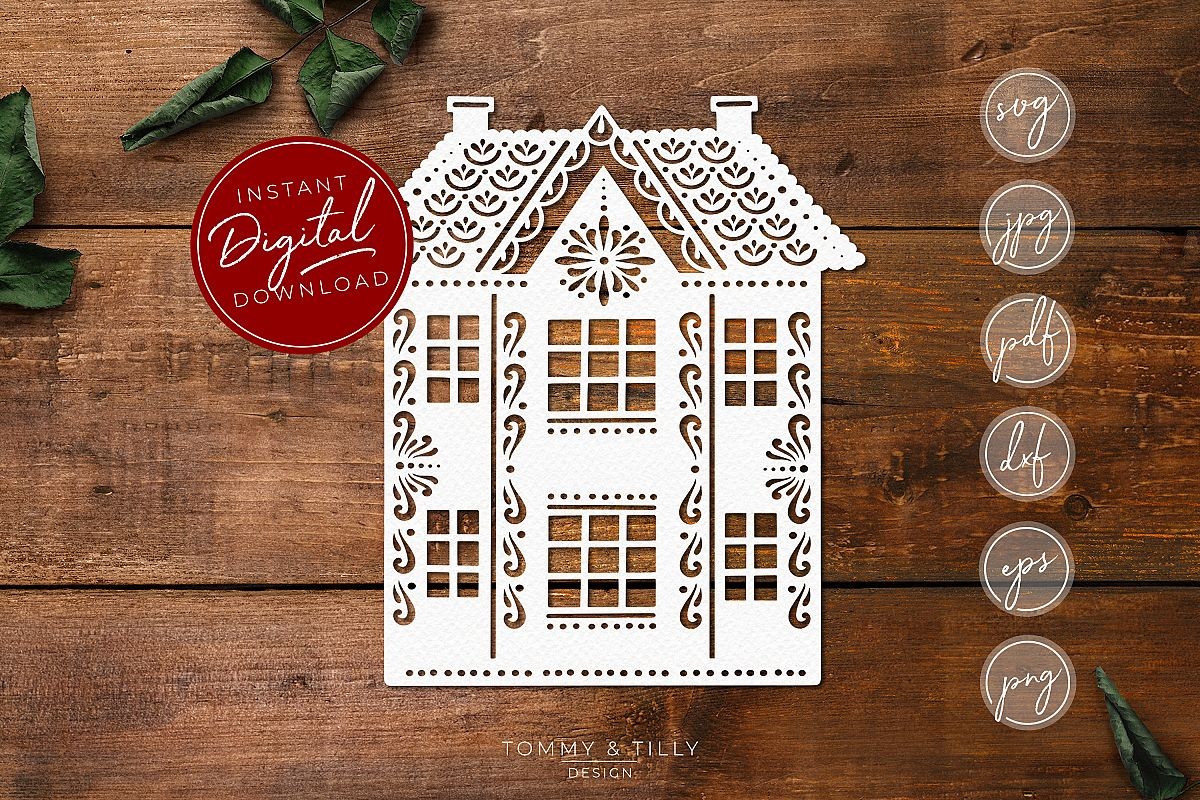 Gingerbread House - SVG EPS DXF PNG PDF JPG example image 1