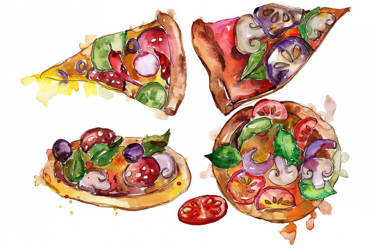 Pizza Margherita watercolor png example image 1