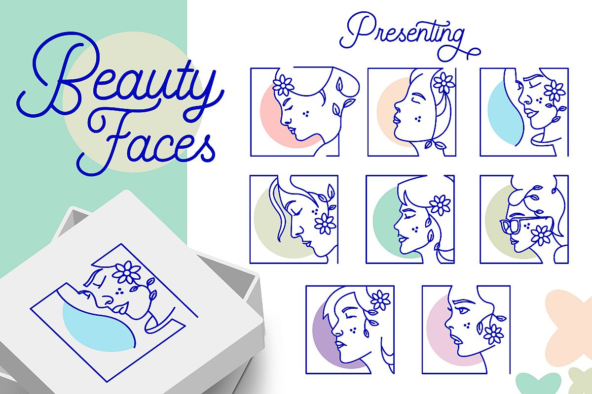 Minimal Beauty Product Faces Vector Designs example image 1