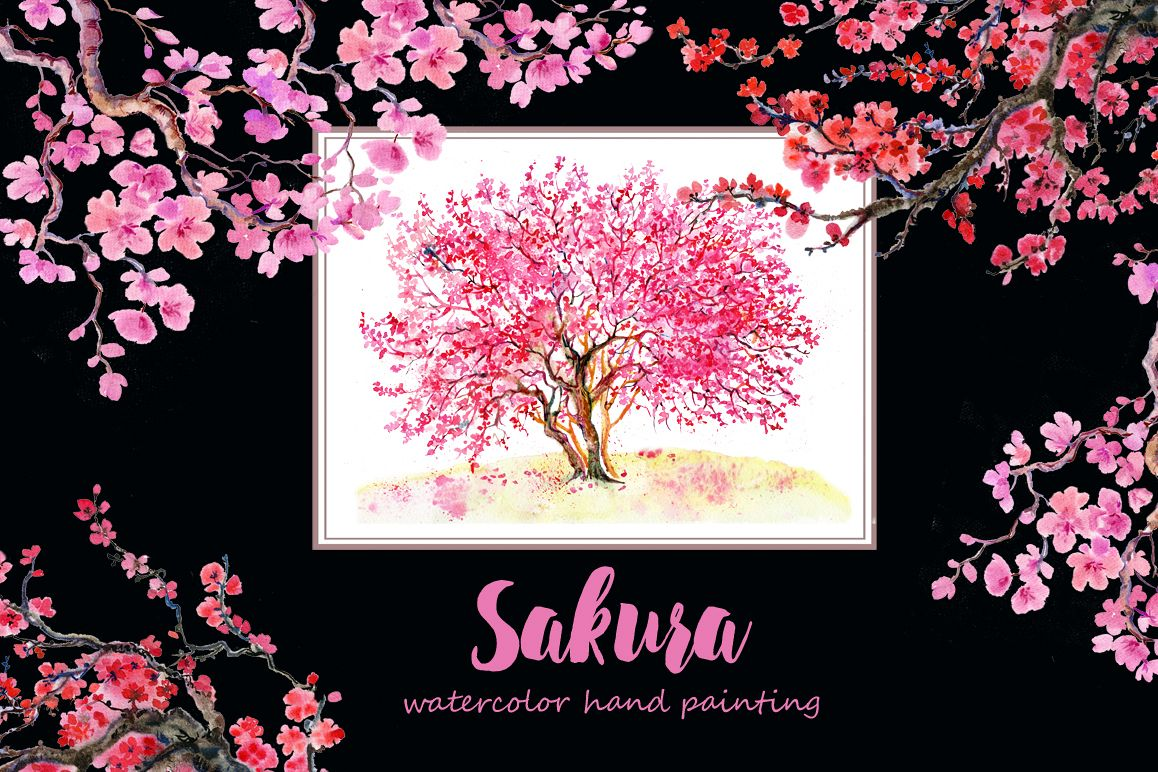 Sakura flowers, clipart,watercolor example image 1