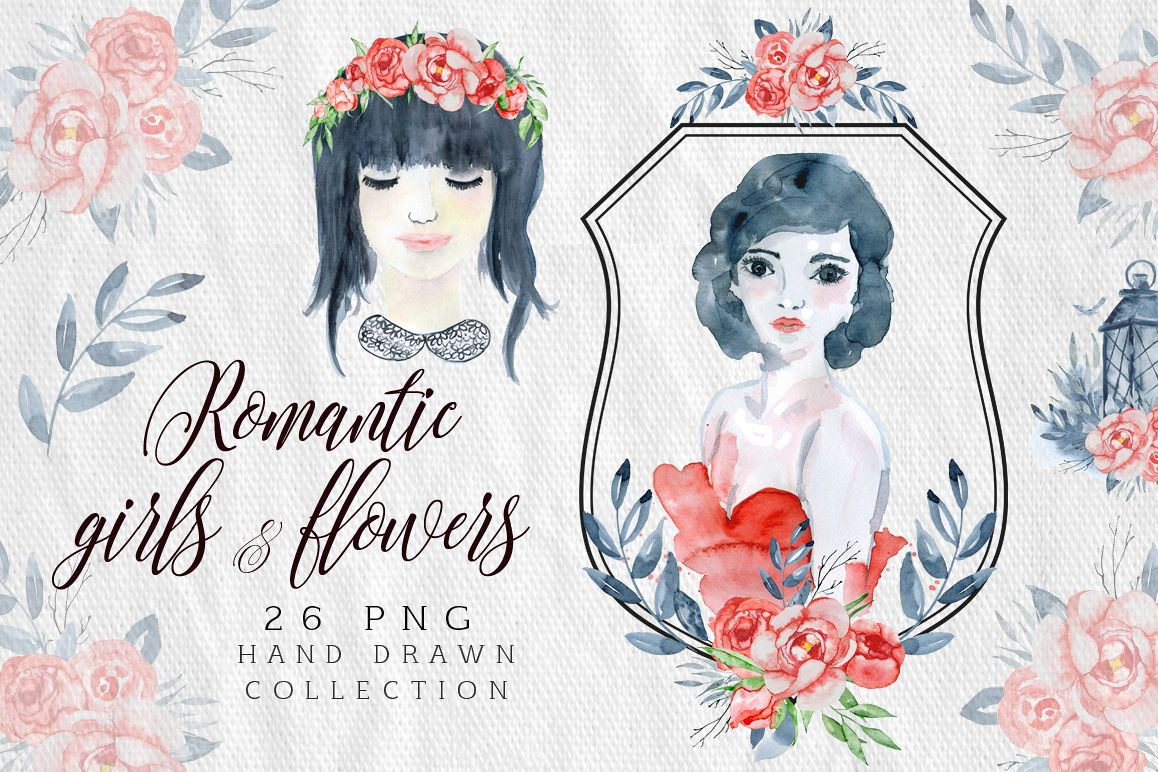 Romantic girls & flowers Love clipart example image 1