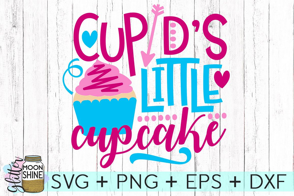 Cupid's Little Cupcake SVG DXF PNG EPS Cutting Files example image 1