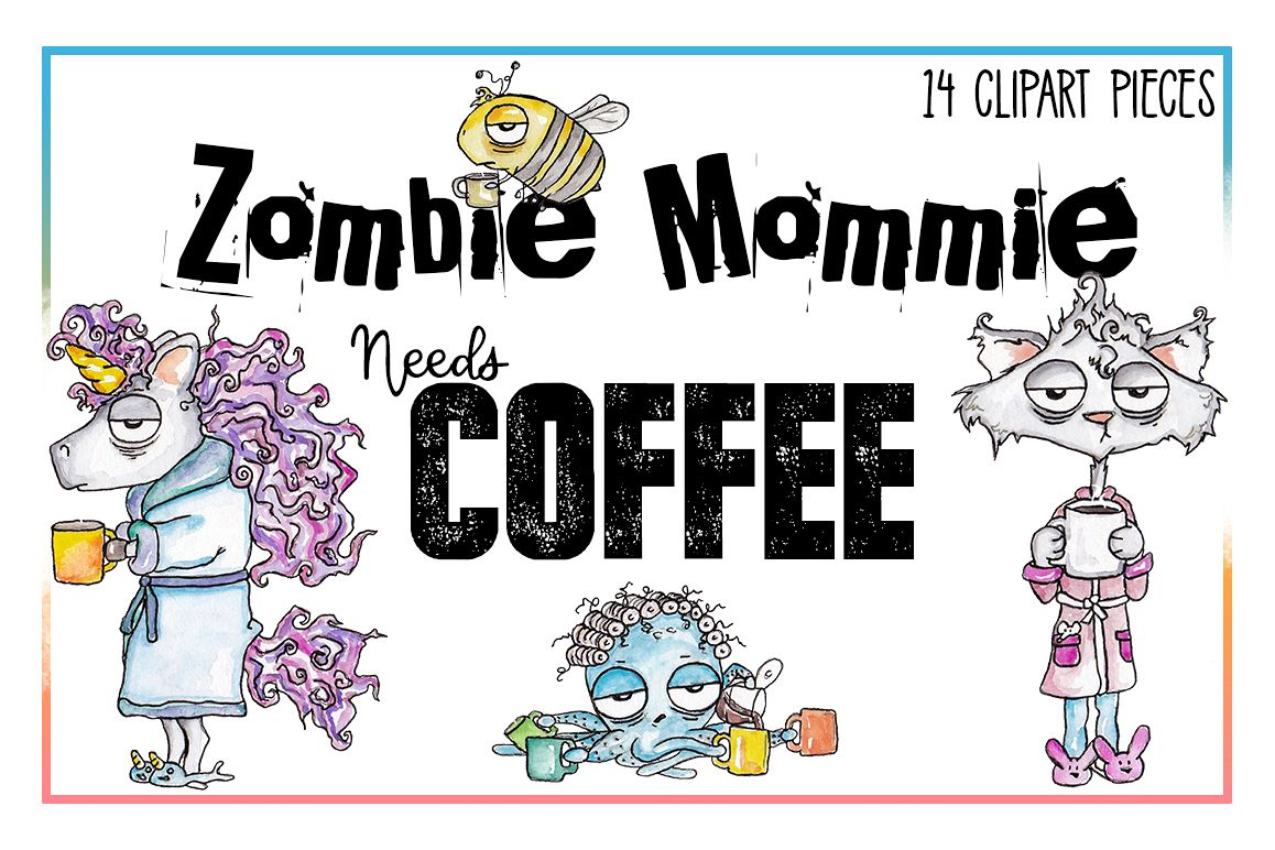 Coffee Clipart, Sublimation, Zombie, Mombie, PNG, Unicorn example image 1