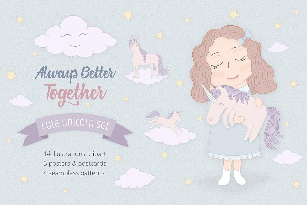 Cute Funny Unicorn Illustration Set example image 1