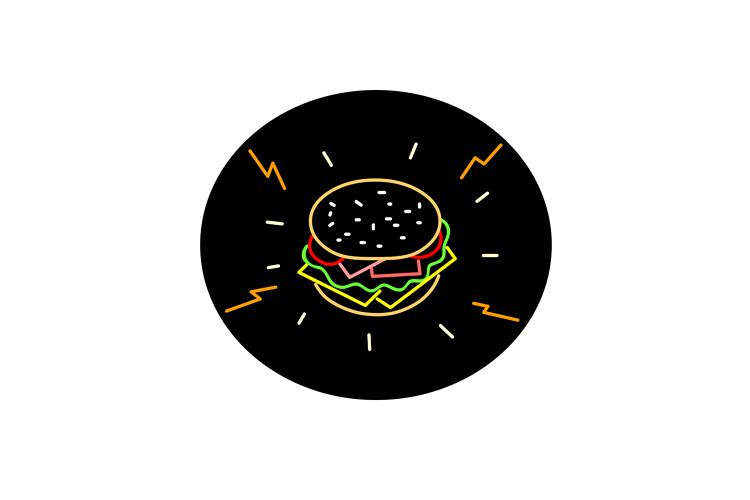 Cheeseburger Retro Neon Sign Oval example image 1