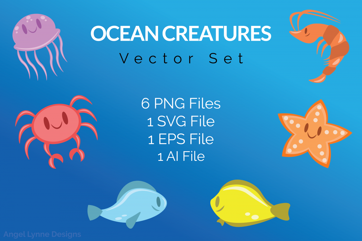 Ocean Creatures Vector Set example image 1