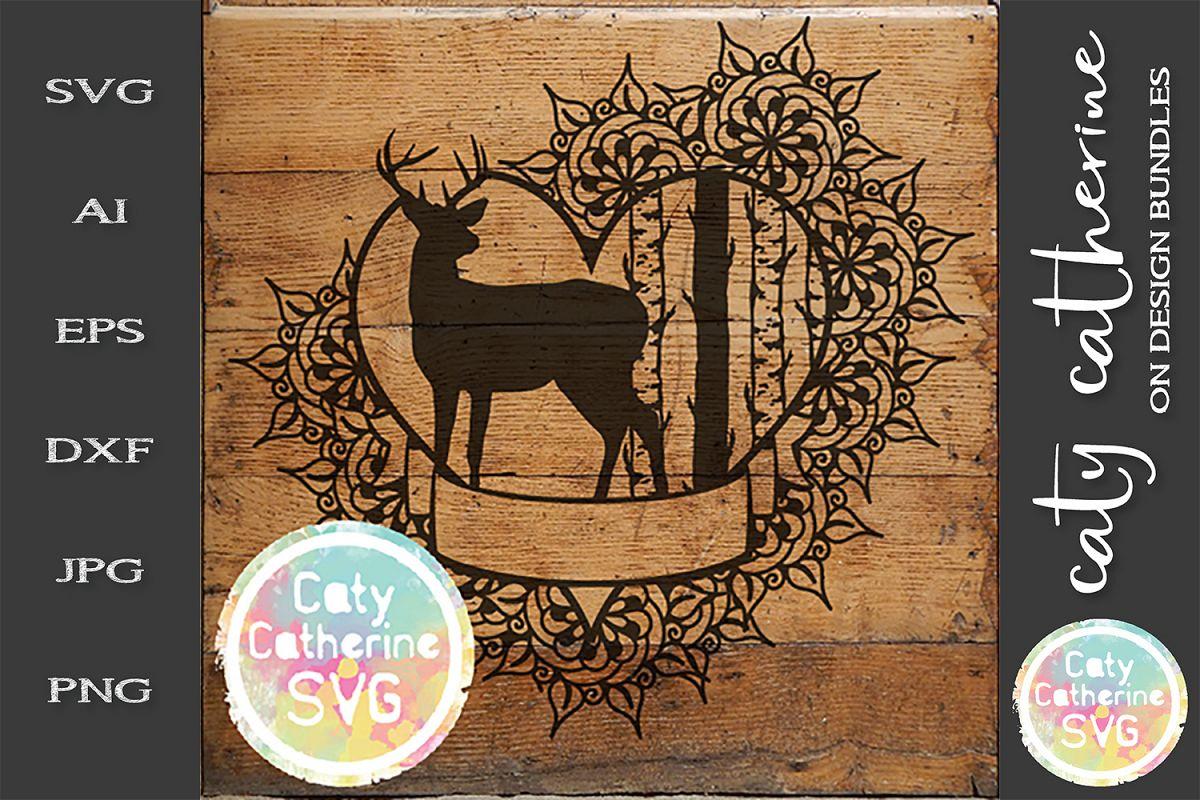 Deer Birch Tree Love Heart Banner Frame SVG Cut File example image 1