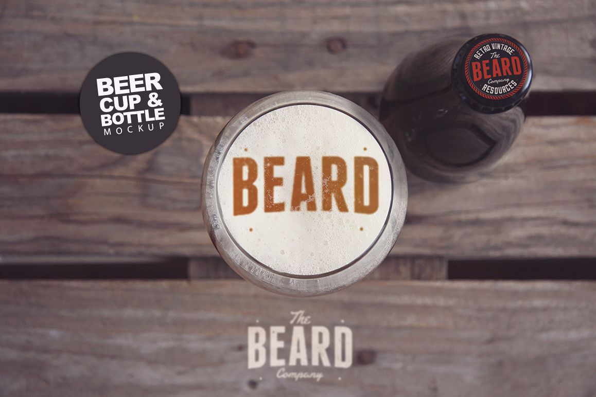 Beer Cup & Bottle Mockup -30 Intro example image 1