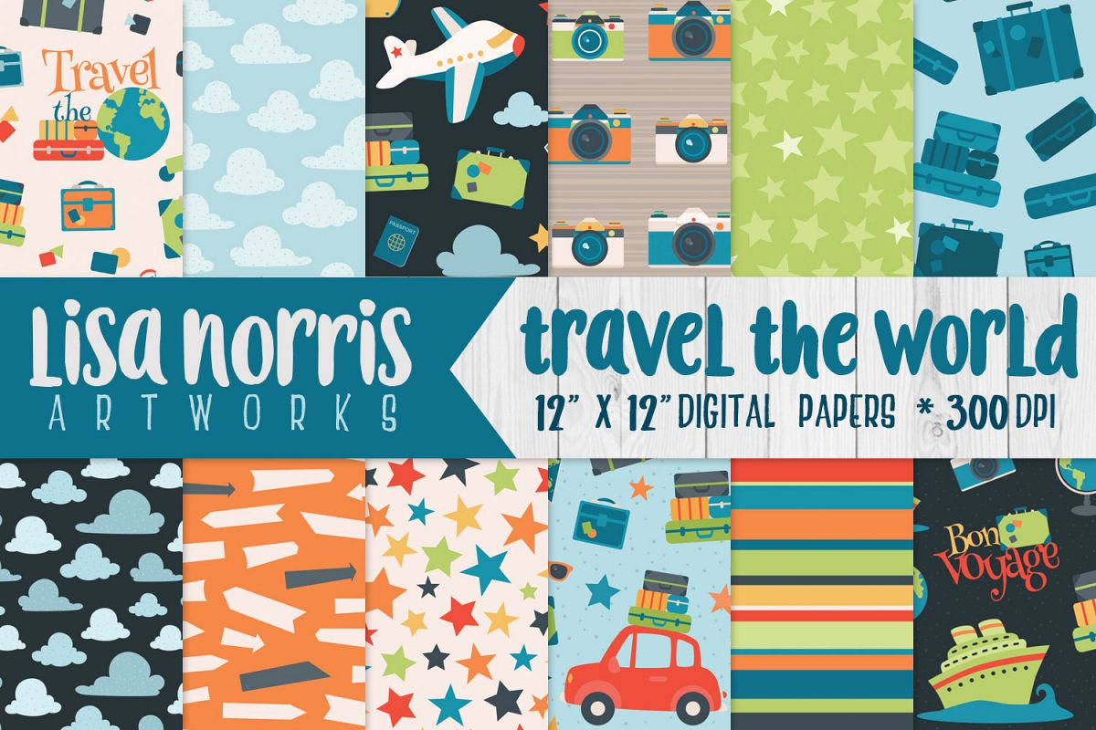 Travel the World Digital Papers example image 1