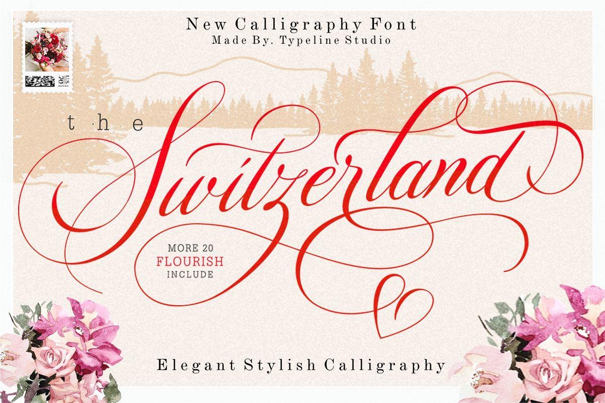 Switzerland Elegant Stylish Calligraphy Script example image 1