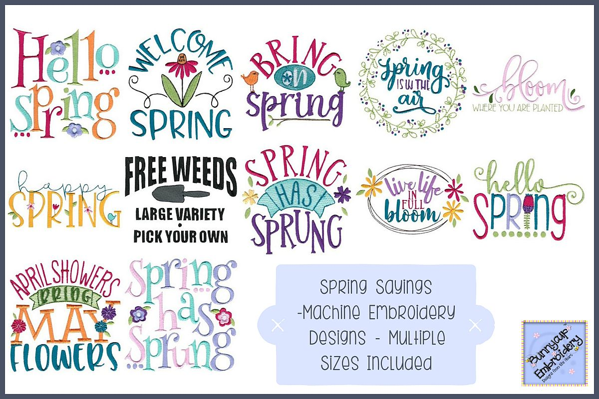 Spring Sayings 12 Machine Embroidery Designs 437780 Designs