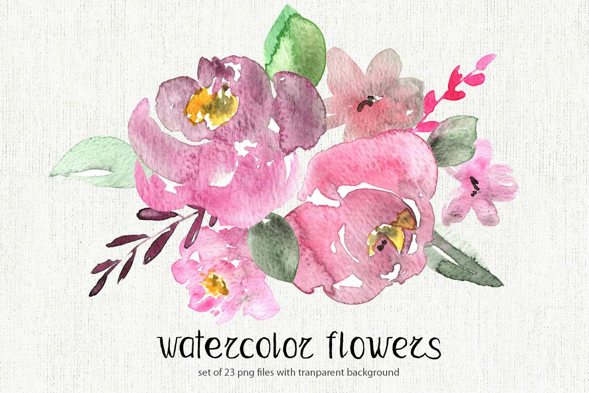 Watercolor pastel flowers set example image 1