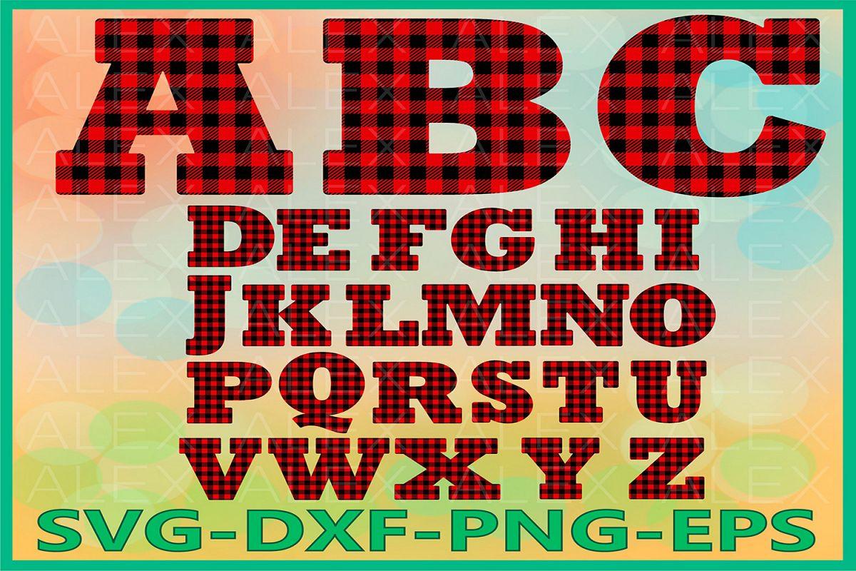 Alphabet Buffalo Plaid svg, Letters Plaid svg example image 1