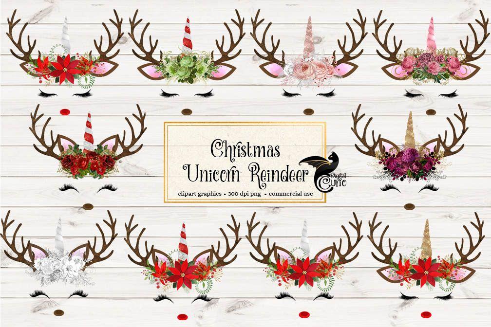 Christmas Unicorn Reindeer Clipart example image 1