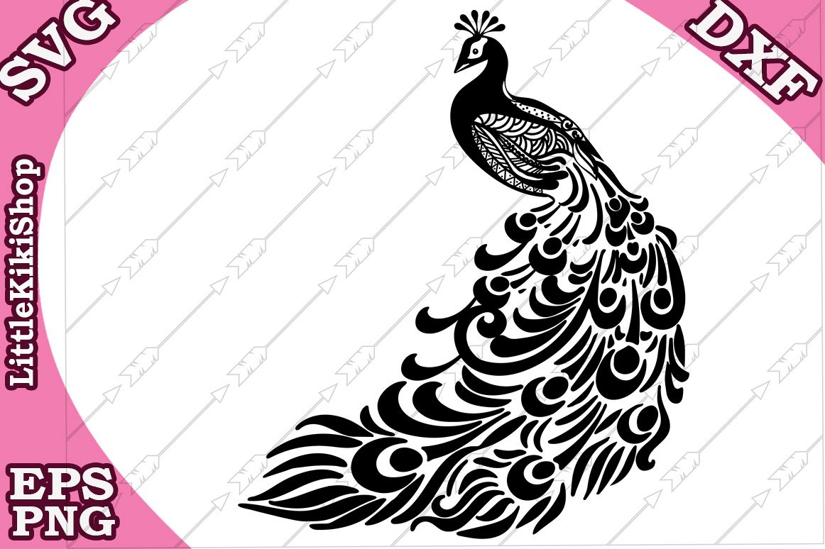 Peacock Svg, MANDALA PEACOCK SVG, Zentangle Svg,Bird Svg example image 1