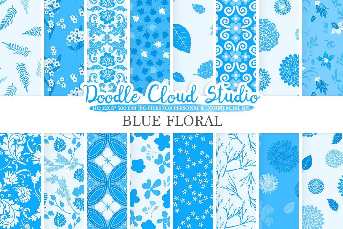Blue Floral Digital Paper Blue Floral Pattern Flowers Dhalia