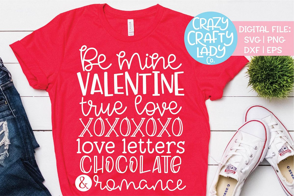 Be Mine Valentine True Love SVG DXF EPS PNG Cut File example image 1