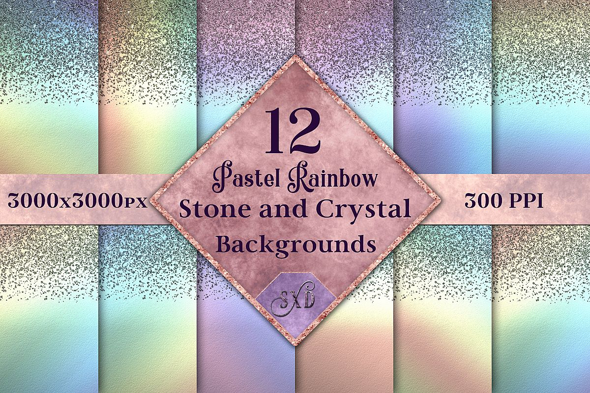 Pastel Rainbow Stone and Crystal Backgrounds - 12 Images example image 1