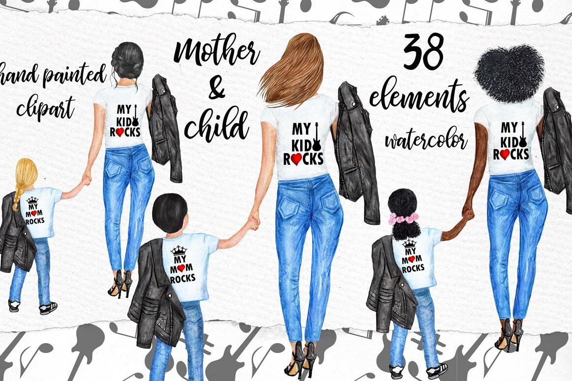 Mother and child clipart,MOTHER'S DAY CLIPART, Fashion Png example image 1