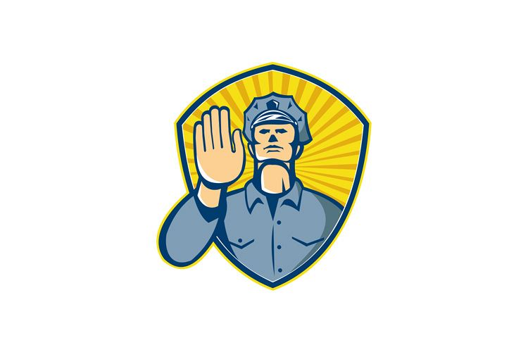 Policeman Police Officer Hand Stop Shield example image 1