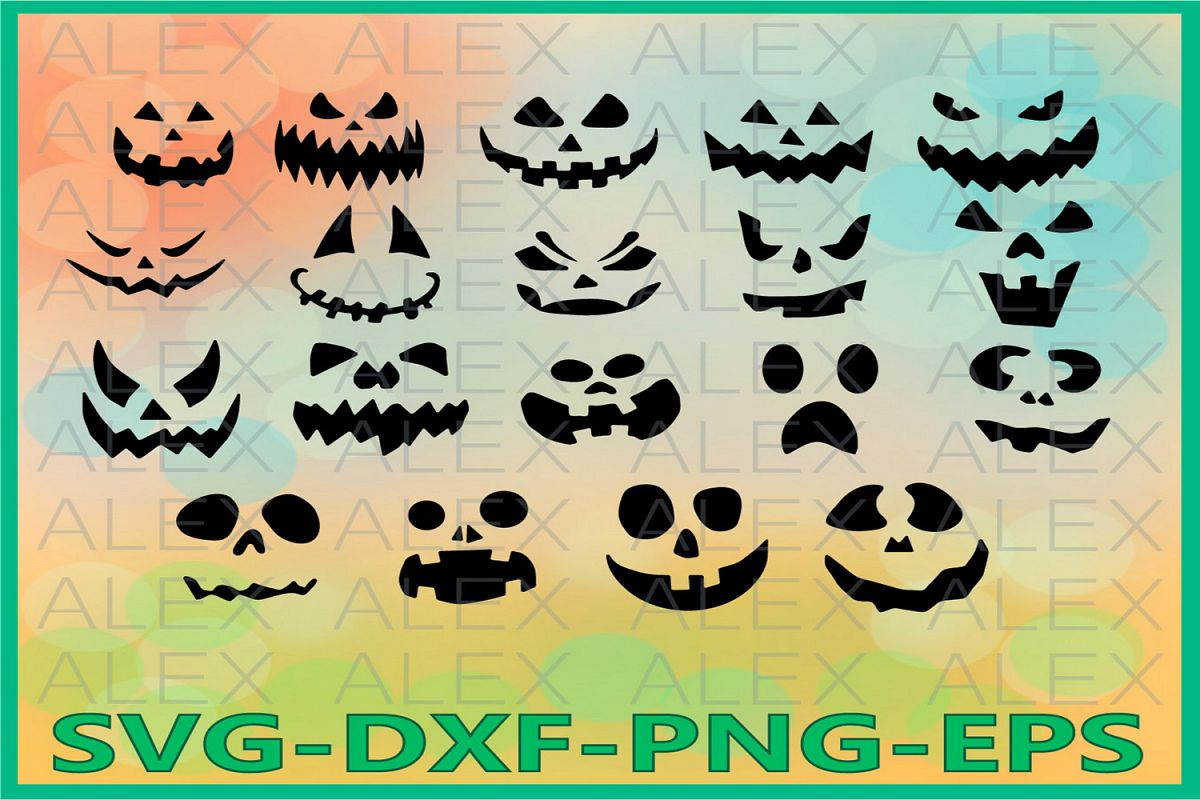 Pumpkin Faces Svg, Halloween Svg Silhouettes example image 1