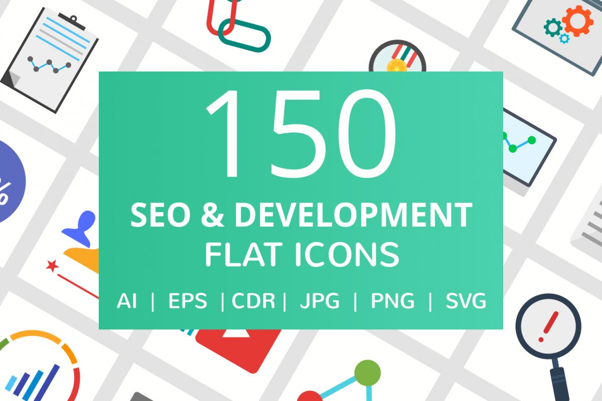 150 SEO & Development Flat Icons example image 1