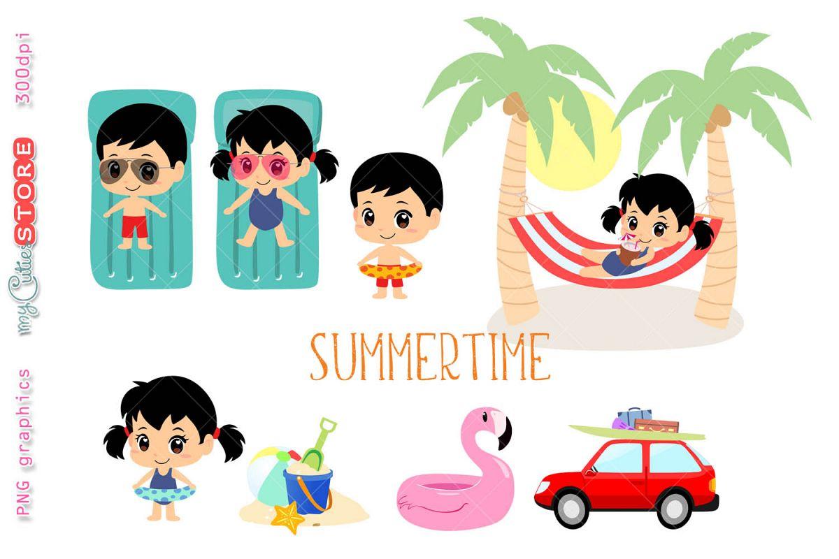 summertime beach vacations clipart cute kawaii girl and boy going rh designbundles net kawaii clipart fruit kawaii clip art mom