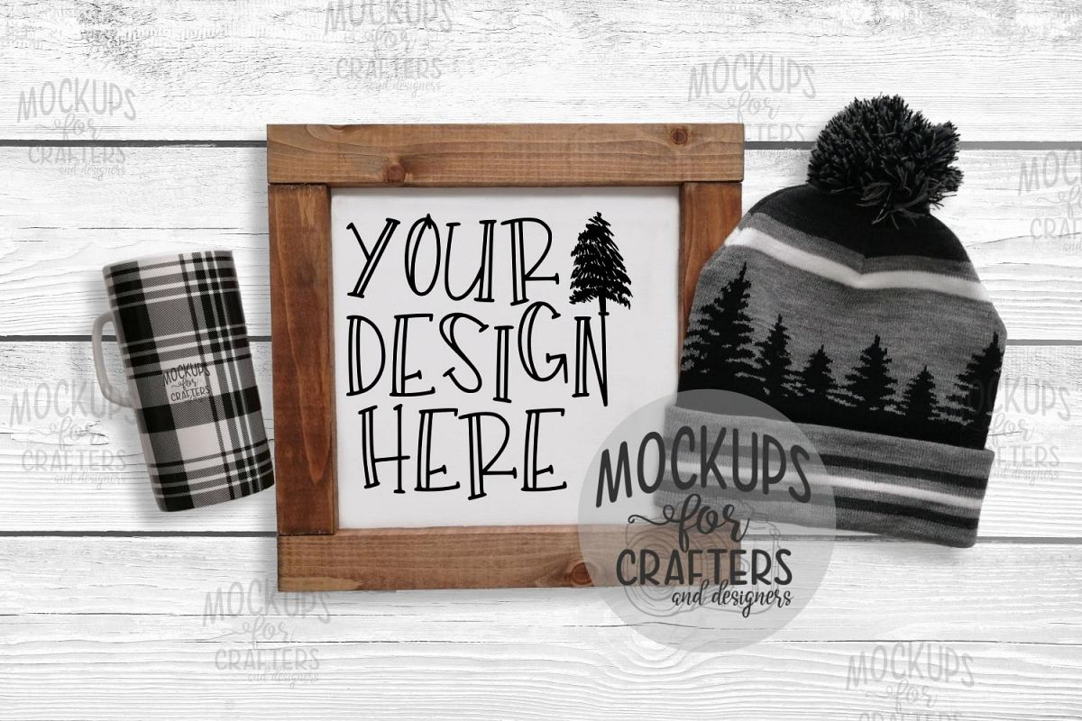 Wood Sign Mock-Up - Rustic/Winter theme example image 1