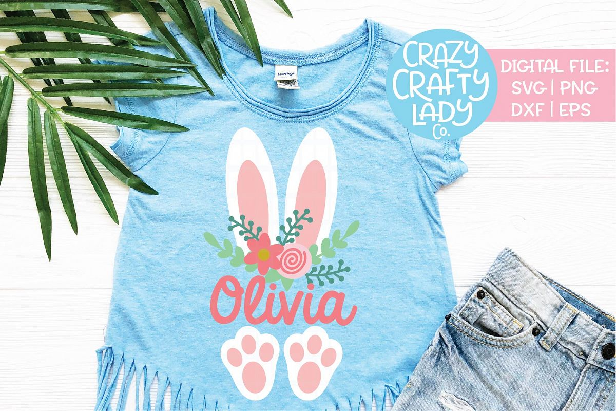 Floral Easter Bunny Ears & Feet SVG DXF EPS PNG Cut File example image 1