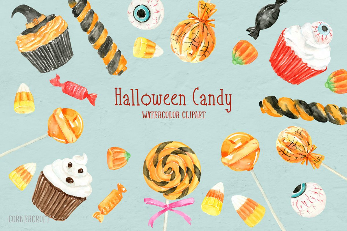 Watercolor Halloween Candy example image 1