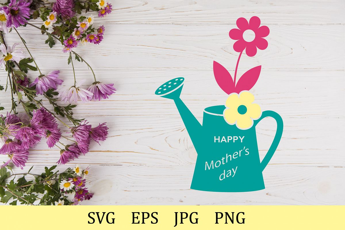Happy Mother's day, flowers in a watering can, monogram example image 1