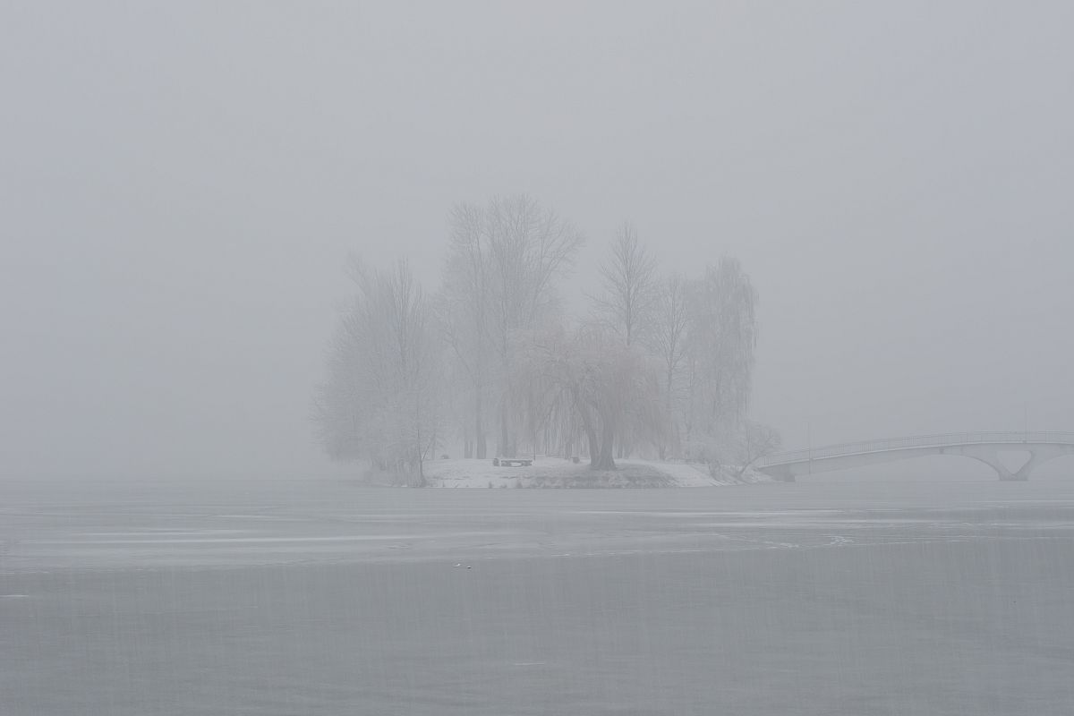 Small island view during snowfall example image 1