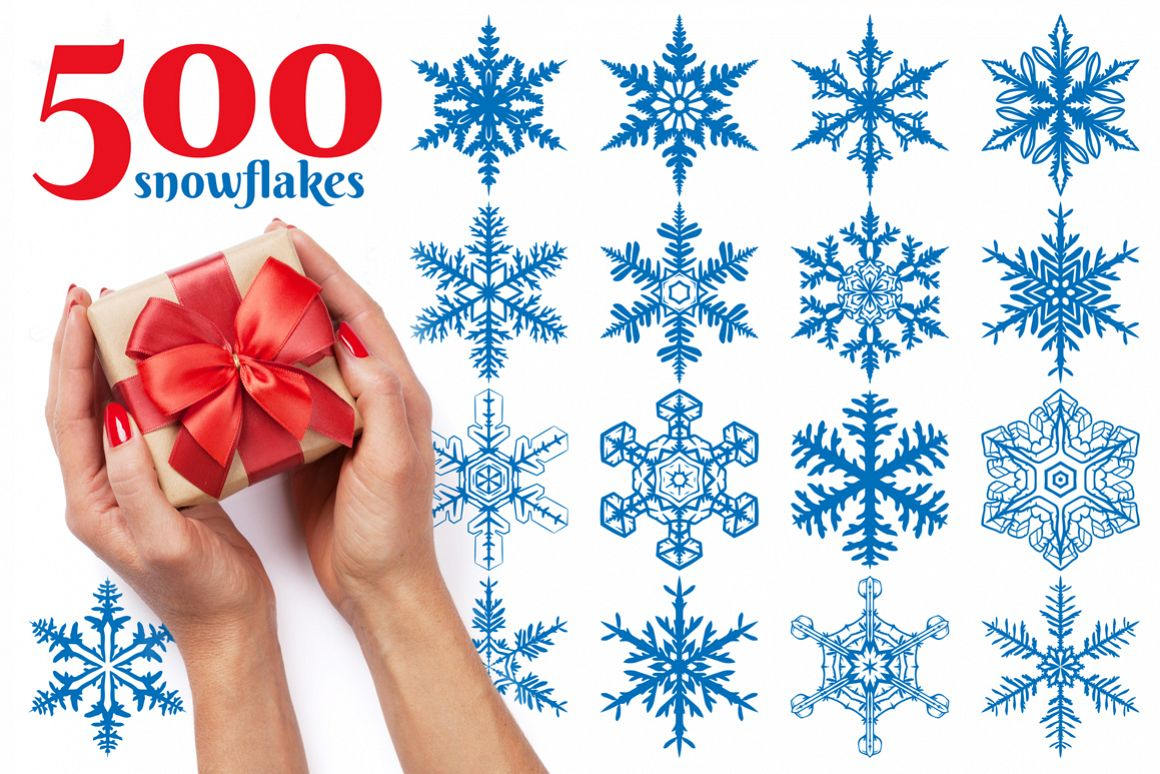 500 Snowflake Vector Ornaments example image 1