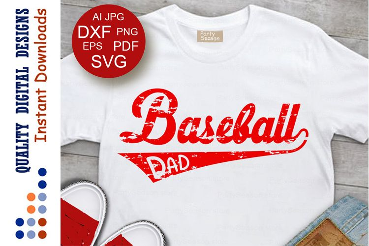 Distressed Baseball Svg DAD shirt digital design Grunge example image 1