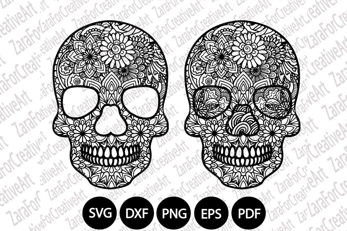 Sugar Skull mandala Zentangle svg example image 1