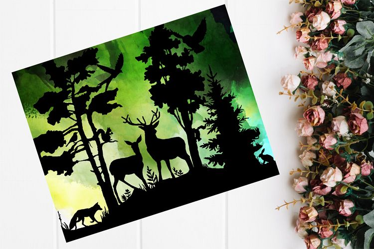 Woodland Papercutting Template, Woodland SVG, Nature SVG example image 1